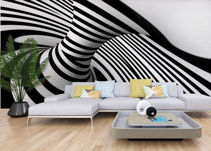 Fototapeta optycznie powiększająca abstrakcja - w efekcie Czarno-Białe