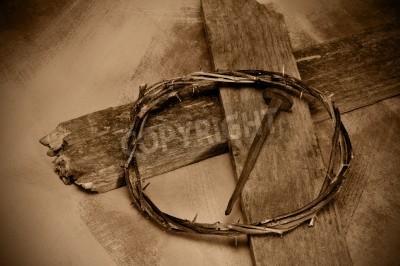 Obraz na płótnie Krzyż, korona cierniowa i gwóźdź