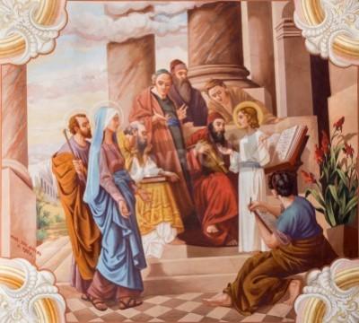 Obraz na płótnie Nauczanie Jezusa w świątyni - fresk Józefa Anatala w Sebechleby, Słowacja