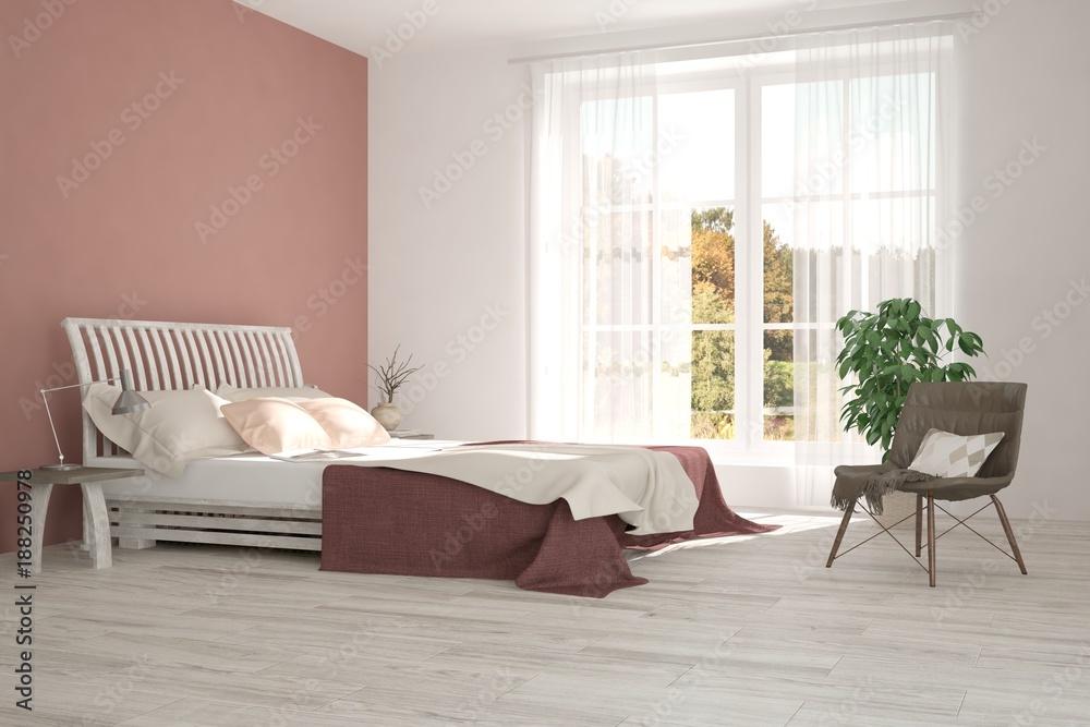 Inspiration of white minimalist bedroom with autumn for Scandinavian interior design inspiration