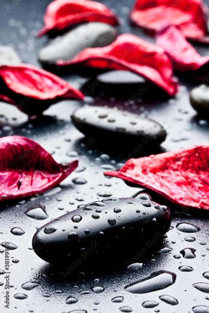 Pietra nera con gocce d 39 acqua e petali rossi fototapety for Finestra con gocce d acqua