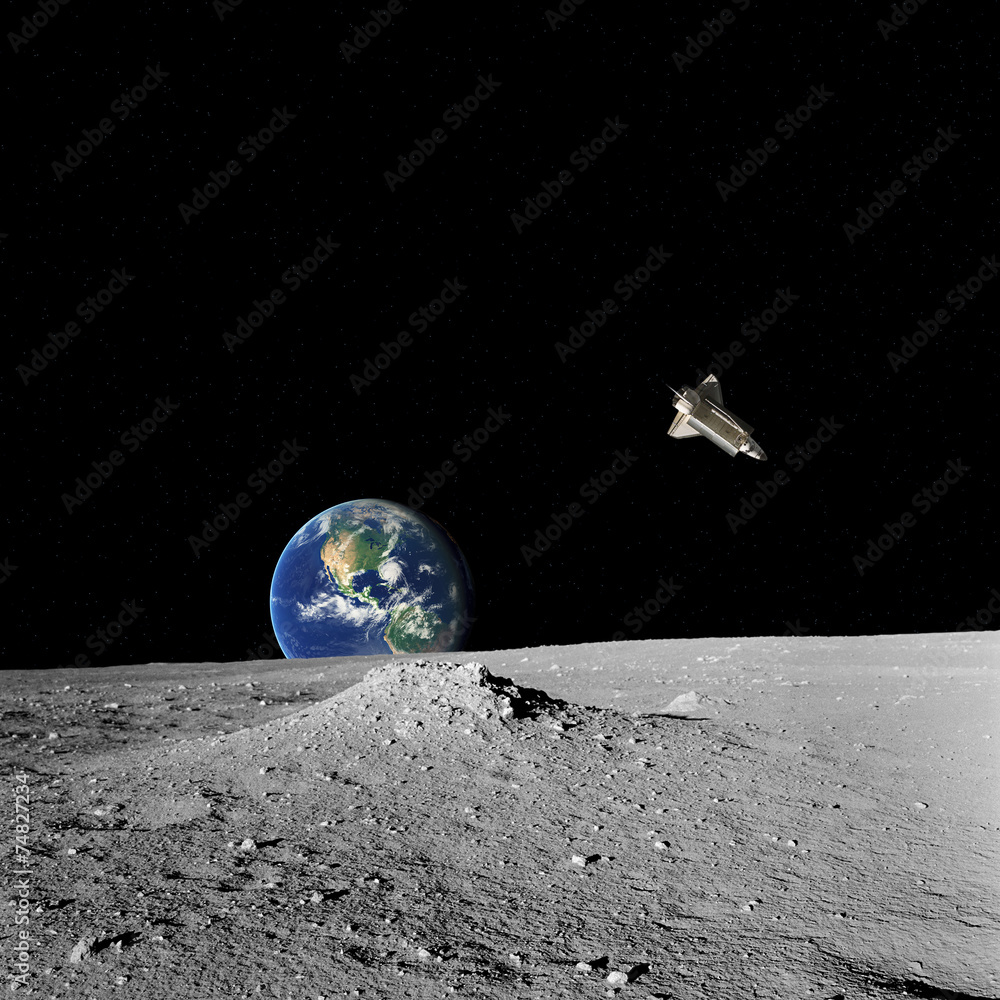 Space shuttle, Earth and stars as seen from Moon's surface ...