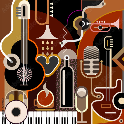 Instrumenty Muzyczne Tło Fototapety Do Restauracji Dekowizjapl