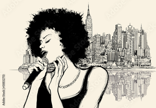Plakat Muzyka Jazz Mikrofon Nowy Jork