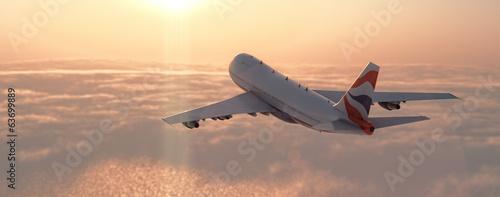 Plakat Samolot Pasażerski W Chmurach