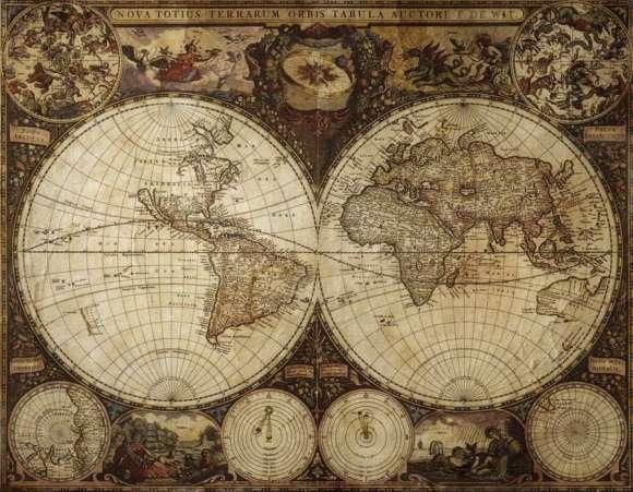 Fototapeta Stara Mapa Swiata Dwie Pulkule Dekowizja Pl